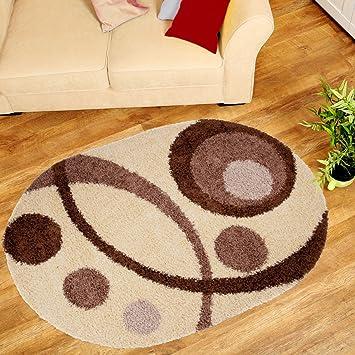 Tapiso Gewellte Design Teppich Wohnzimmer Modernen Sammlung Art Oval U2013  Creme Beige Braun Figuren