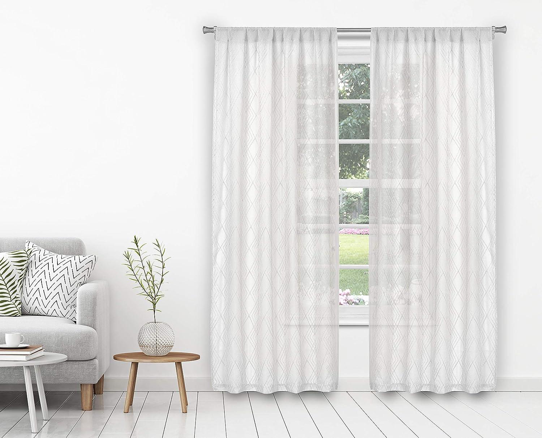 kensie Greer Curtain Set, 38x84, White
