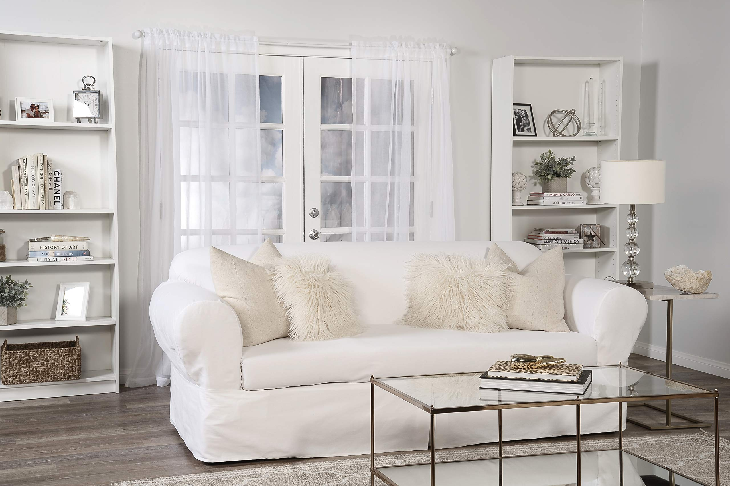 Classic Slipcovers WDEN2PC10WHT Sofa slipcover, 2 Piece, Separate Cushion Cover, Pure White by Classic Slipcovers