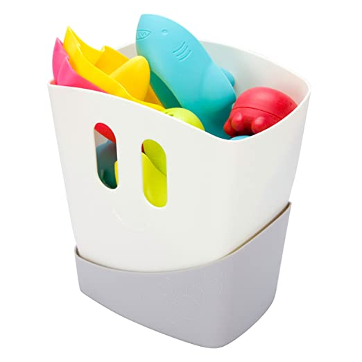 Amazon.com : Ubbi Freestanding Bath Toy Organizer Bath Caddy with Removable Drying Rack Bin and Scoop for Bath Toys for Toddlers + Baby - Gray : Baby