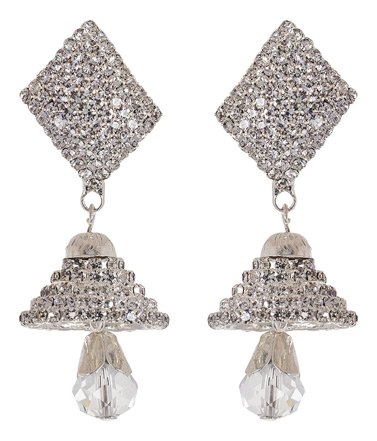Subharpit Ethnic Complete Crystal Silver Plated Indian Bridal Dangle /& Drop Earrings for Women /& Girls