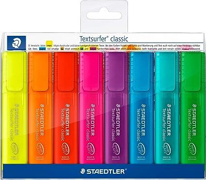 Staedtler Textsurfer classic 364 - Pack de 8 marcadores fluorescentes, tinta multicolor: Amazon.es: Oficina y papelería