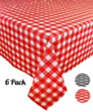 """[6 Pack] Plastic Red and White Checkered Tablecloth, Disposable Gingham Party Table Covers, Rectangle 54"""" X 108"""""""