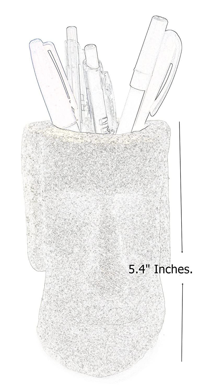 Bellaa 21109 Pen//Pencil Holder Easter Island Statue Pot Makeup Brush Vase