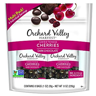 ORCHARD VALLEY HARVEST Dark Chocolate Cherries, 1 oz (Pack of 8), Non-GMO, No Artificial Ingredients