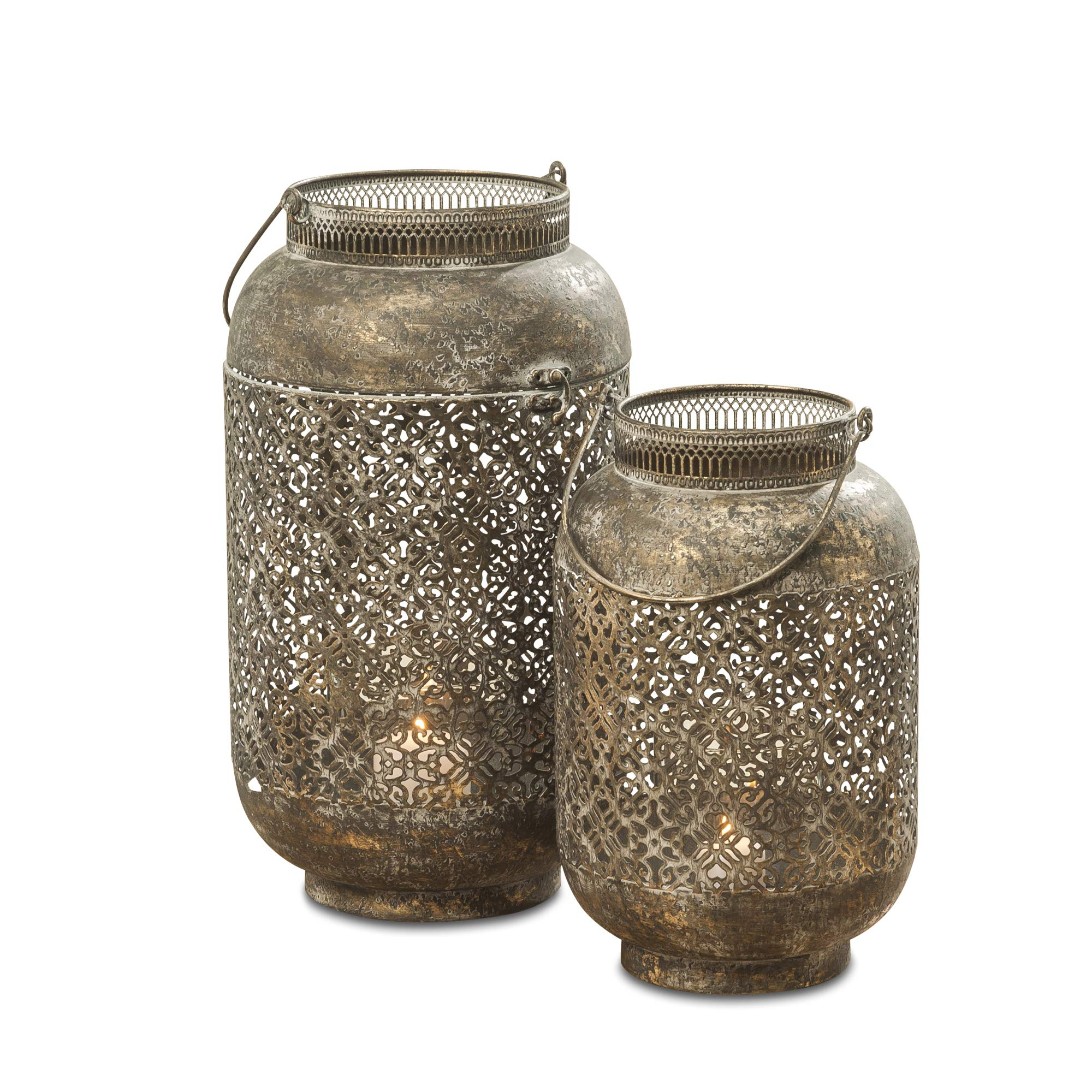 WHW Whole House Worlds Moroccan Temple Lanterns, Set of 2, Hurricanes, Vintage, Lacy Lattice Patterned Bellies, for LED or Wax Candles, Patina Finish Brass Metal, Hinged Top, 17 and 13 Inches Tall