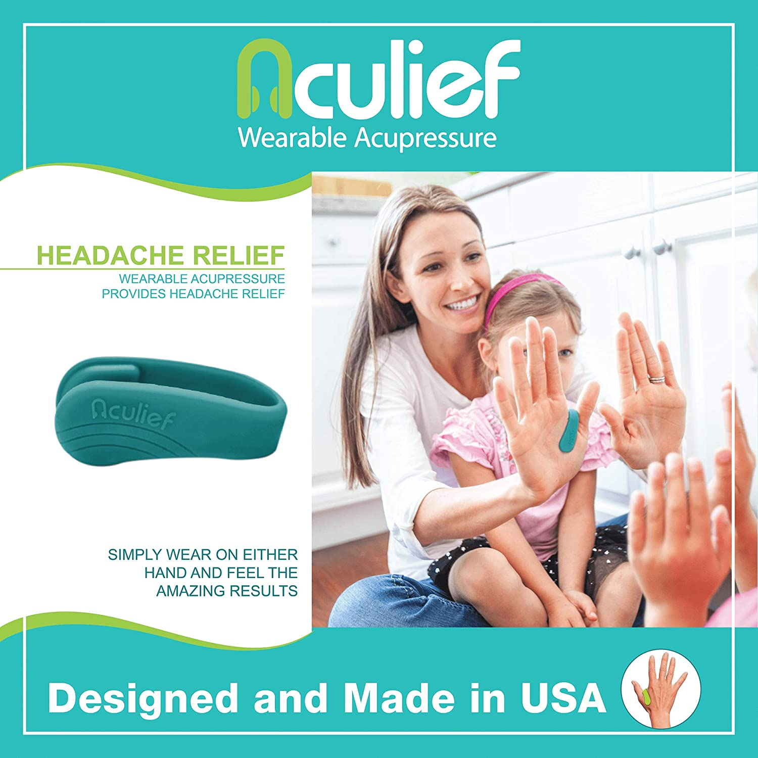Aculief - Award Winning Natural Headache, Migraine, Tension Relief Wearable – Supporting Acupressure Relaxation, Stress Alleviation, Soothing Muscle Pain - Simple, Easy, Effective 1 Pack - (Teal): Health & Personal Care