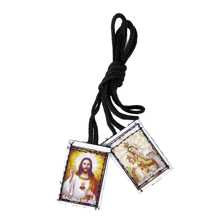 Rosary Heaven Filo di Nylon Sacro Cuore e da Attaccare Carmelo Scapolare Nero Cattolica Regalo