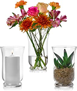 Set of 3 Glass Hurricane Vases 8 Inch Tall x 5 Inch Opening – Multi-use: Pillar Candle Holder, Flower Vase – Perfect as a Wedding Centerpieces, Home Decoration