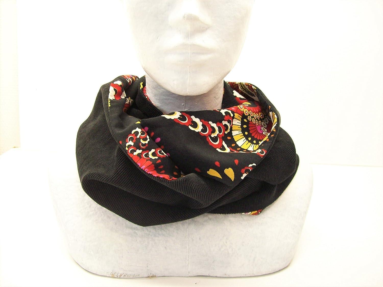 snood femme noir motifs cachemire en velours et tissu , echarpe infinie style boheme , tour de cou reversible , cadeau pour elle