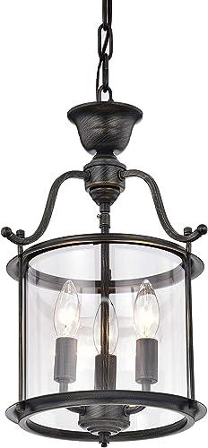Carlota 3-Light Clear Glass Foyer Pendant Chandelier