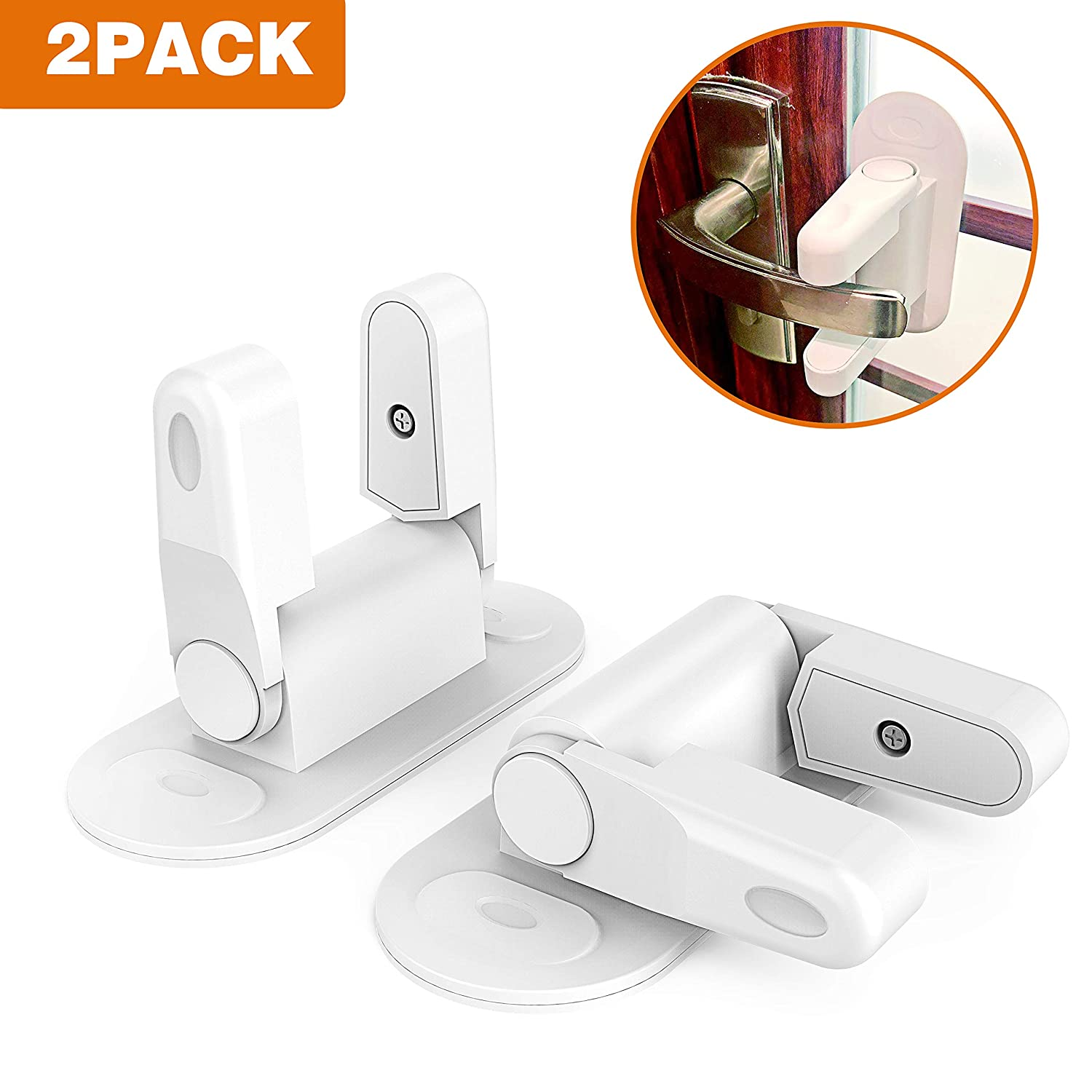 Door Lever Lock, 2 Pack Strong Adhesive Child Safety Proof Door Handles Locks for Window Bedroom Kitchen Bathroom Front Gate Doors Drawers Cabinets Dishwasher D-MSH-02