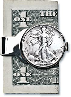 product image for Coin Money Clip - Silver Walking Liberty Half Dollar | Brass Moneyclip Layered in Silver-Tone Rhodium | Holds Currency, Credit Cards, Cash | Genuine U.S. Coin | Certificate of Authenticity