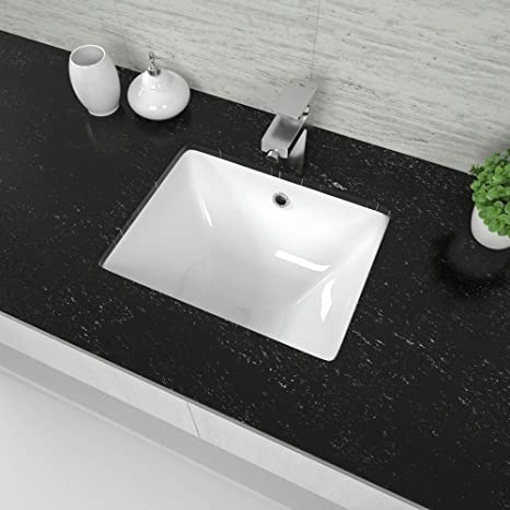 Undermount Bathroom Sink Mocoloo 18 X 14 Rectangle Porcelain White Vessel Sink 7 7 Inch Deep U Shape Base With Overflow Small Square Lavatory Vanity Sink Mounted Under The Counter Amazon Sg Home Improvement