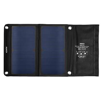 Aukey PB-P3 - Cargador Panel Solar con 2 Puertos USB (14 W) Color Negro