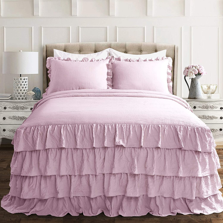 Lush Decor Lush Décor Allison Ruffle Skirt Bedspread Purple Shabby Chic Farmhouse Style Lightweight 3 Piece Set Queen,
