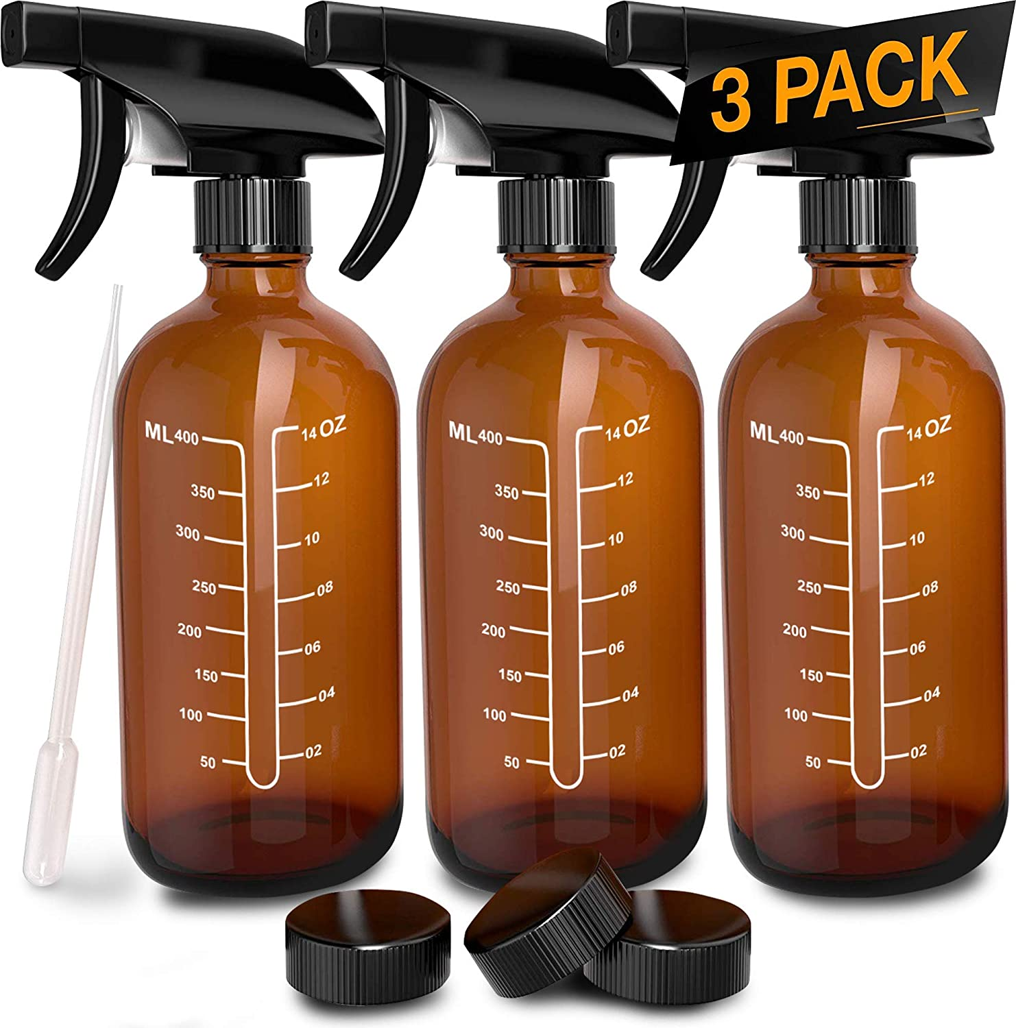 3 Pack – Refillable Empty Amber Glass Spray Bottles Free Phenolic Cap and Pipette for Cleaning Solutions, Hair, Essential Oils, Plants – Trigger Sprayer with Mist and Single Mode 16 OZ
