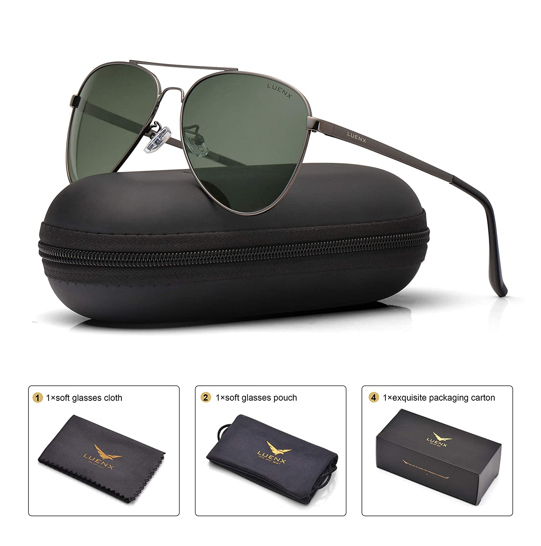 e49a23f60b Amazon.com  LUENX Men Women Aviator Sunglasses Polarized Non-Mirror Grey  Green Lens Gun Metal Frame with Accessories UV 400 Protection 60MM  Sports    ...