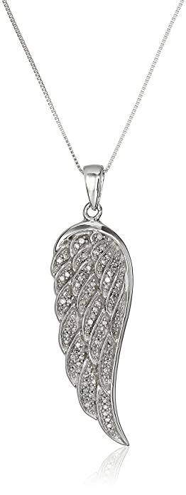 Amazon 10k white gold diamond angel wing pendant necklace 15 10k white gold diamond angel wing pendant necklace 15 cttw 18quot aloadofball Image collections