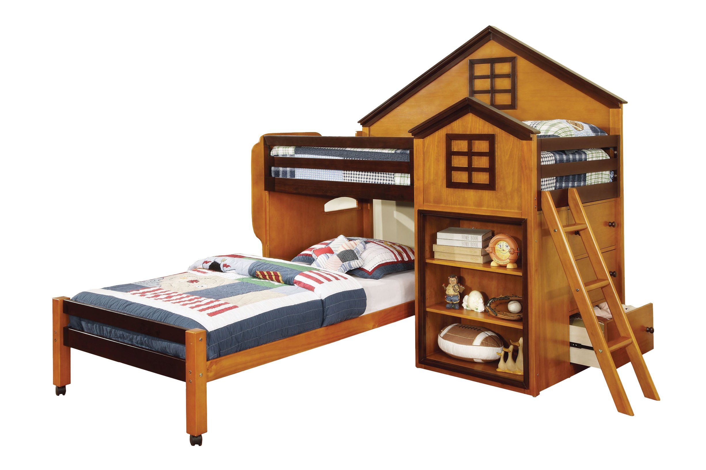 HOMES: Inside + Out ioHOMES Houser Loft Bed, Twin, Oak/Walnut