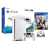 PS4 Slim Console Playstation 4 Blanche Pack + Fortnite: Battle Royale [Préinstallé]