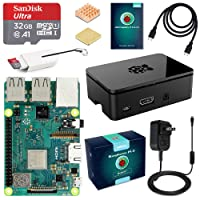 ABOX Raspberry Pi 3 Model B Plus (B+) Ultimate Starter Kit with 32GB Class 10 SanDisk Micro SD Card, 2.5A On/Off Switch Power Supply and Premium Black Case
