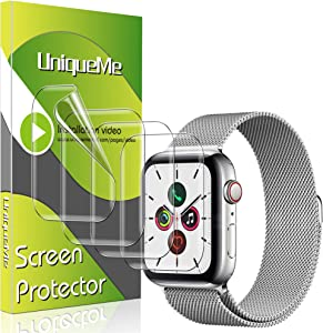 [4 Pack] UniqueMe for Apple Watch Series 6 / Apple Watch SE (44mm) Screen Protector, TPU Clear Soft Film,HD Clear, Anti-Scratch Bubble-Free Case Friendly