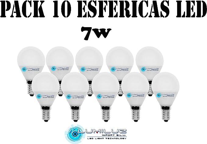 Pack de 10 bombillas Led esféricas 7W E14 (Rosca pequeña), 4000K (Lúz Neutra),630 lúmenes,Encendido instantaneo.: Amazon.es: Iluminación