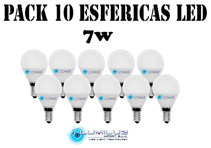 Pack de 10 bombillas Led esféricas 7W E14 (Rosca pequeña), 3000K (Lúz