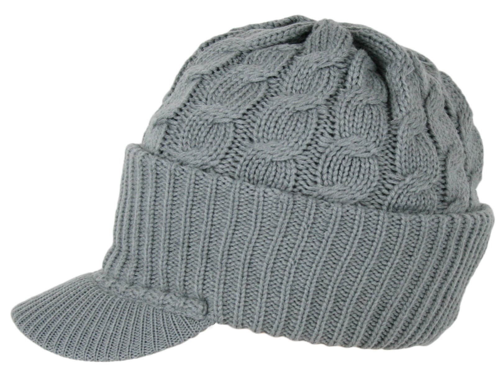 5c7757098bd Urbanhatshop Newsboy Cable Knitted Visor Beanie Bill Winter Warm Hat All  Colors (Gray) Apparel