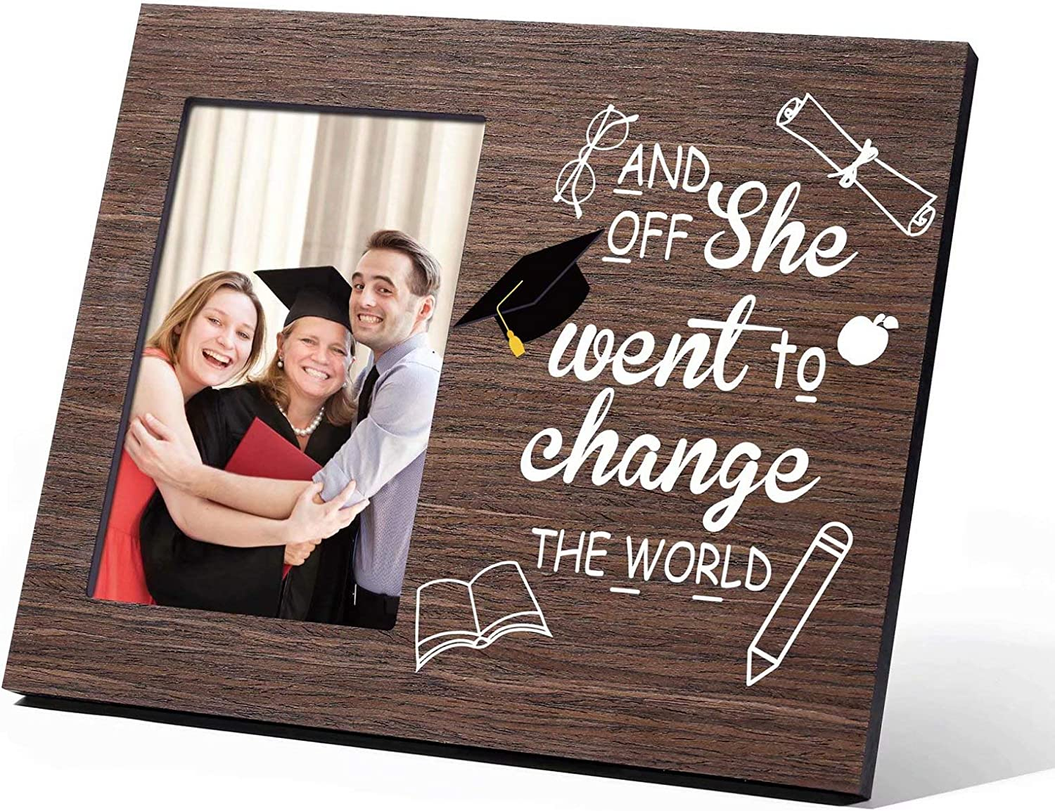 High School Graduation Gifts for Her 2021, and off She Went to Change the World Class of 2021 Inspirational College Graduation Gifts for Girls Women, Picture Frame 4x6 Wood