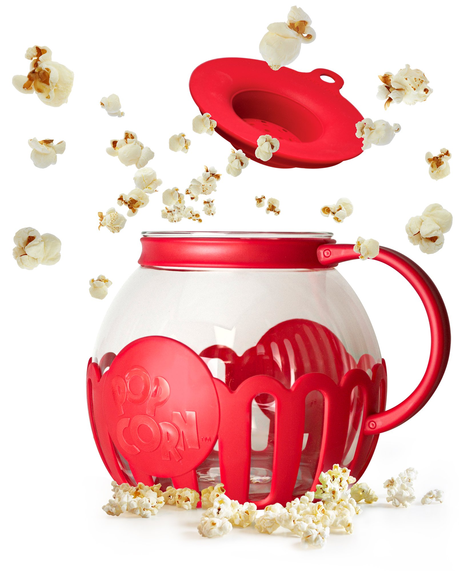 Ecolution Micro-Pop Microwave Popcorn Popper 3QT - Temperature Safe Glass w/Multi Purpose Lid, Family Size, Red