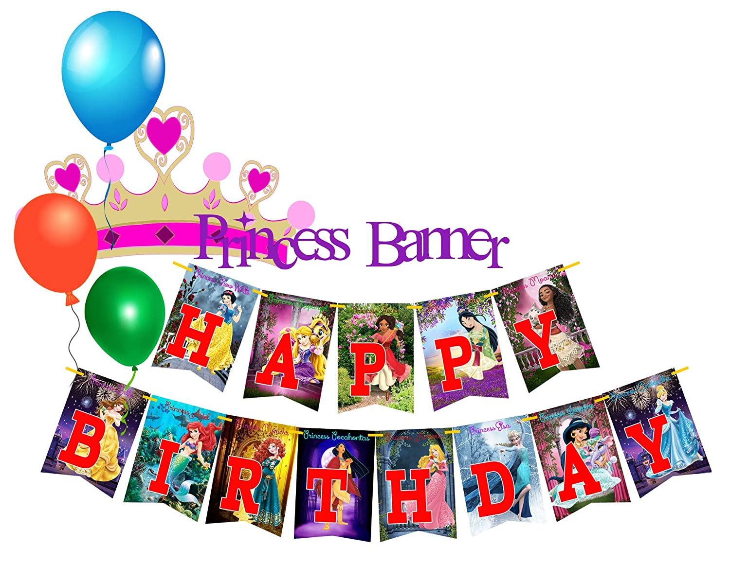 Amazon Com 13 Princess Happy Birthday Party Rectangles For Banners