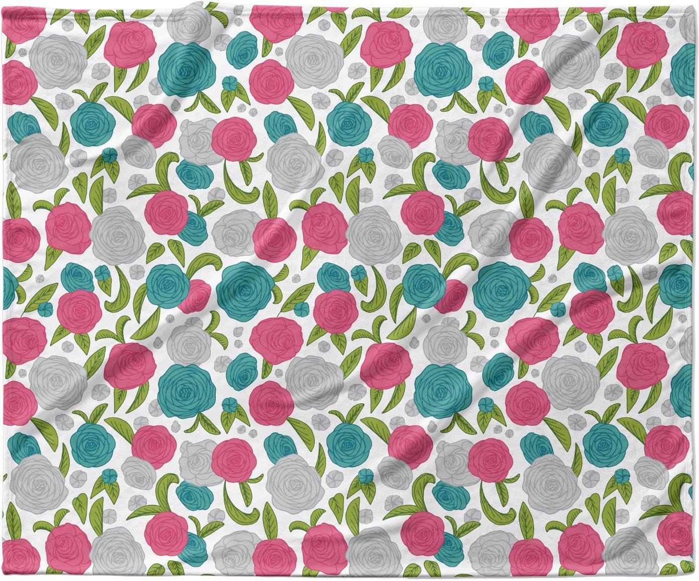 KESS InHouse Emma Frances 'Vintage Brights' Teal Pink Fleece Baby Blanket, 40' x 30'