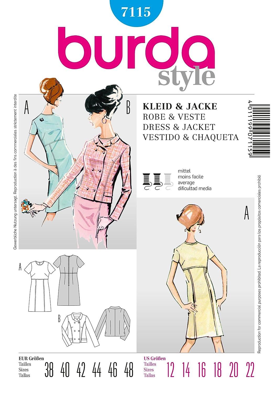 Amazon.com: Burda Ladies Sewing Pattern 7115 - Dress & Jacket Sizes: 12-22: Kitchen & Dining