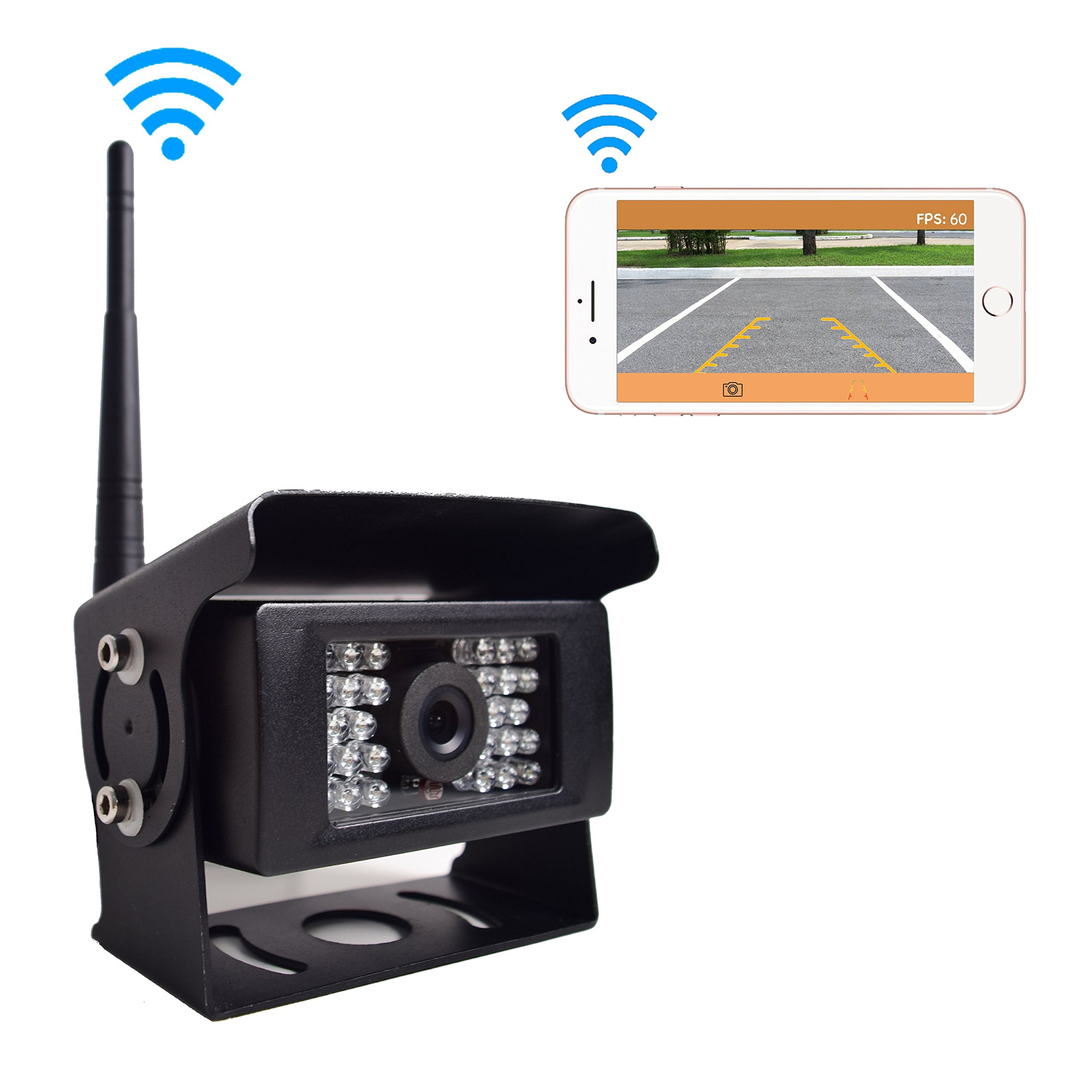 Digital Wireless Backup Camera for Truck RV Camper Vans Trailer, Wifi Rear View Cam 28 IR Lights Night Vision Waterproof Work with iPhone iPad Android Tablet, Transmission Distance upto 100FT, 12-24V