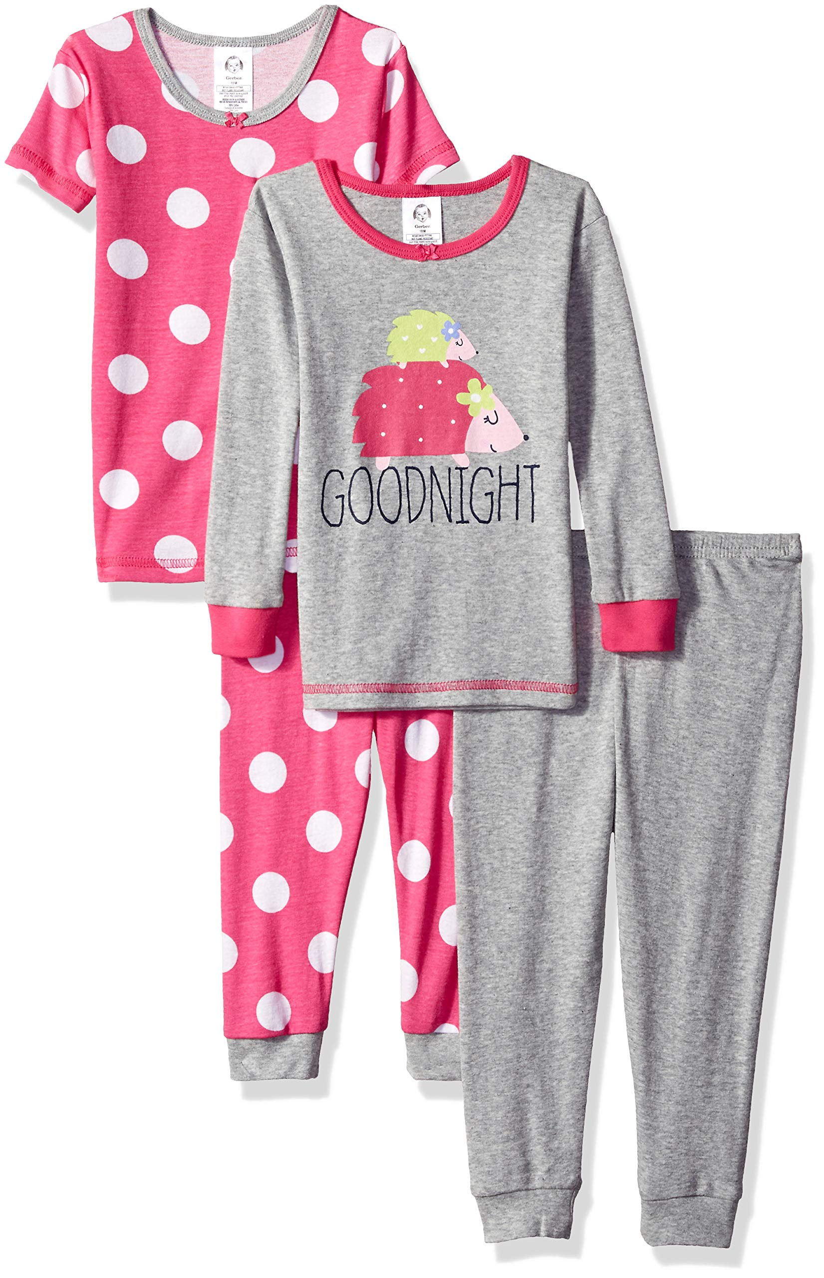 Gerber Girls' 4-Piece Pajama Set