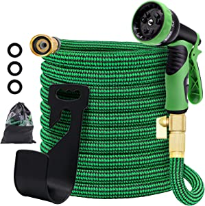 EYOUBE Garden Hose 25FT, 3750D Expandable Garden Hose with 9 Functions Nozzle and Triple Latex Core, lightweight Water Hose with 3/4