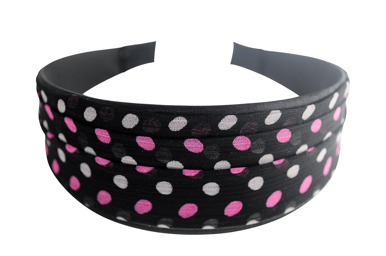 Cute Pink Polka Dots Over Black Hard Headband Headwear Headwrap Hair Accessories