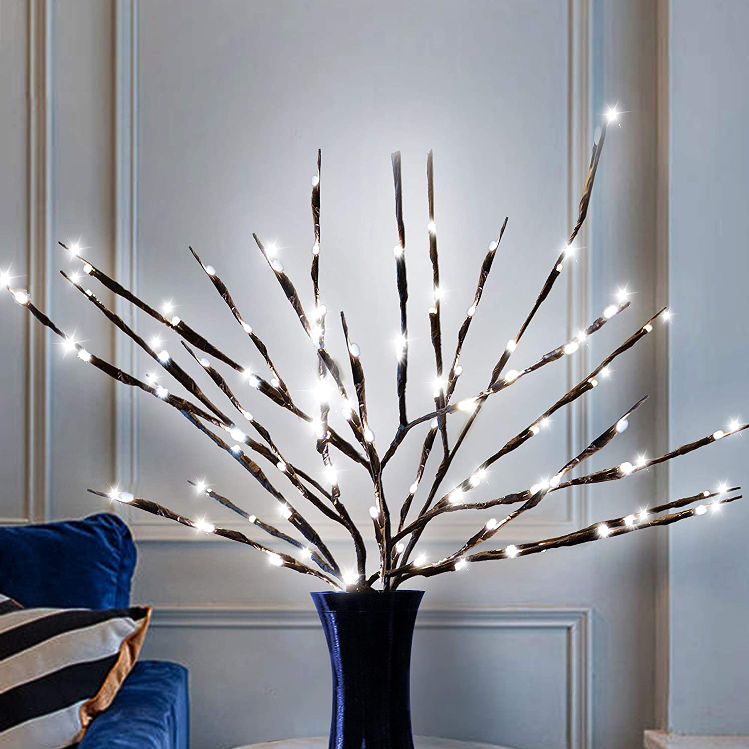 Joiedomi 3 Branch Lights 20'' 20LED Willow Twig Branch Decorative Lights for Christmas Home Party Wedding Garden Xmas Garden Patio Bedroom Indoor Outdoor Decor