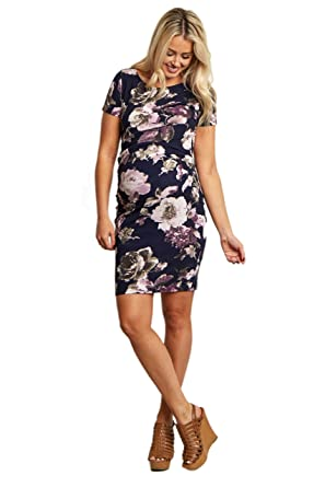 38c811cbddafd Image Unavailable. Image not available for. Color: PinkBlush Maternity Navy Blue  Floral Fitted Maternity Dress ...