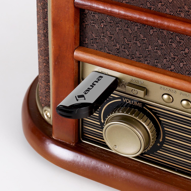 auna Belle Epoque 1908 - Minicadena estéreo , Tocadiscos con Bluetooth , Reproductor de CD , MP3 , USB , Casetes , Radio FM/Am , Altavoces , Grabación ...