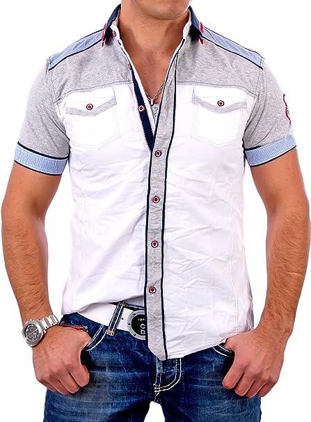 Kickdown Herren Kontrast Kurzarm Hemd Poloshirt T-Shirt J-049