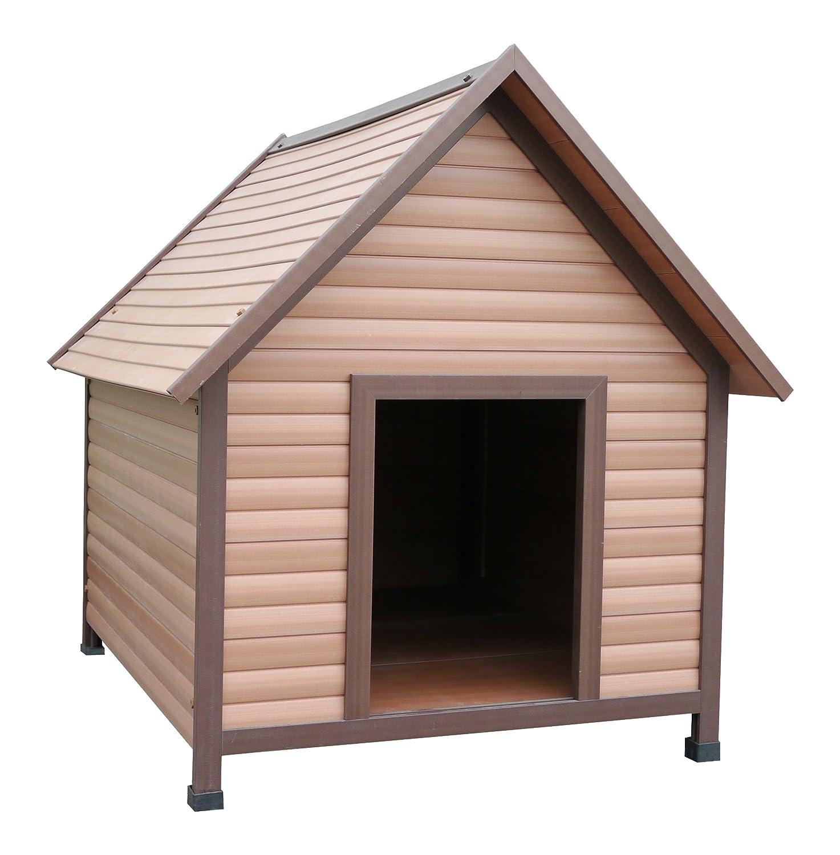 Rosewood Wetterfeste Spitzdach-Hundehütte für Hunde, aus Holz und Kunststoffwerkstoff, mit verstellbaren Füßen