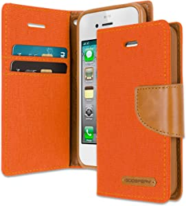 Goospery Canvas Wallet for Apple iPhone 4s Case (2011) iPhone 4 Case (2010) Denim Stand Flip Cover with 6 Gifts (Orange) IP4-CAN/GF-ORG