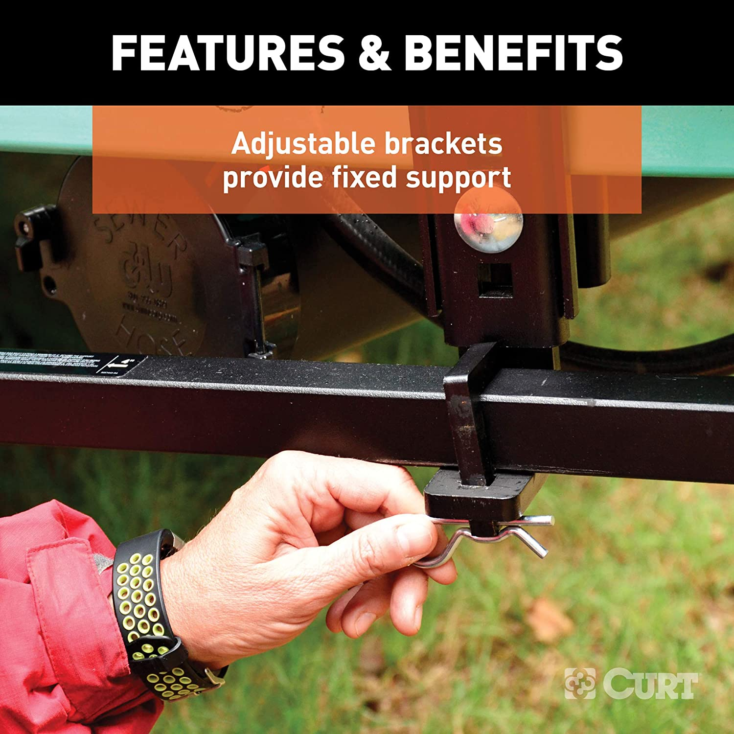 CURT 17501 TruTrack Weight Distribution Hitch with Sway Control 2-in Shank 2-5//16-Inch Ball Up to 15K