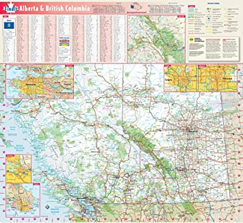 Alberta & British Columbia Wall Map - 19.75\