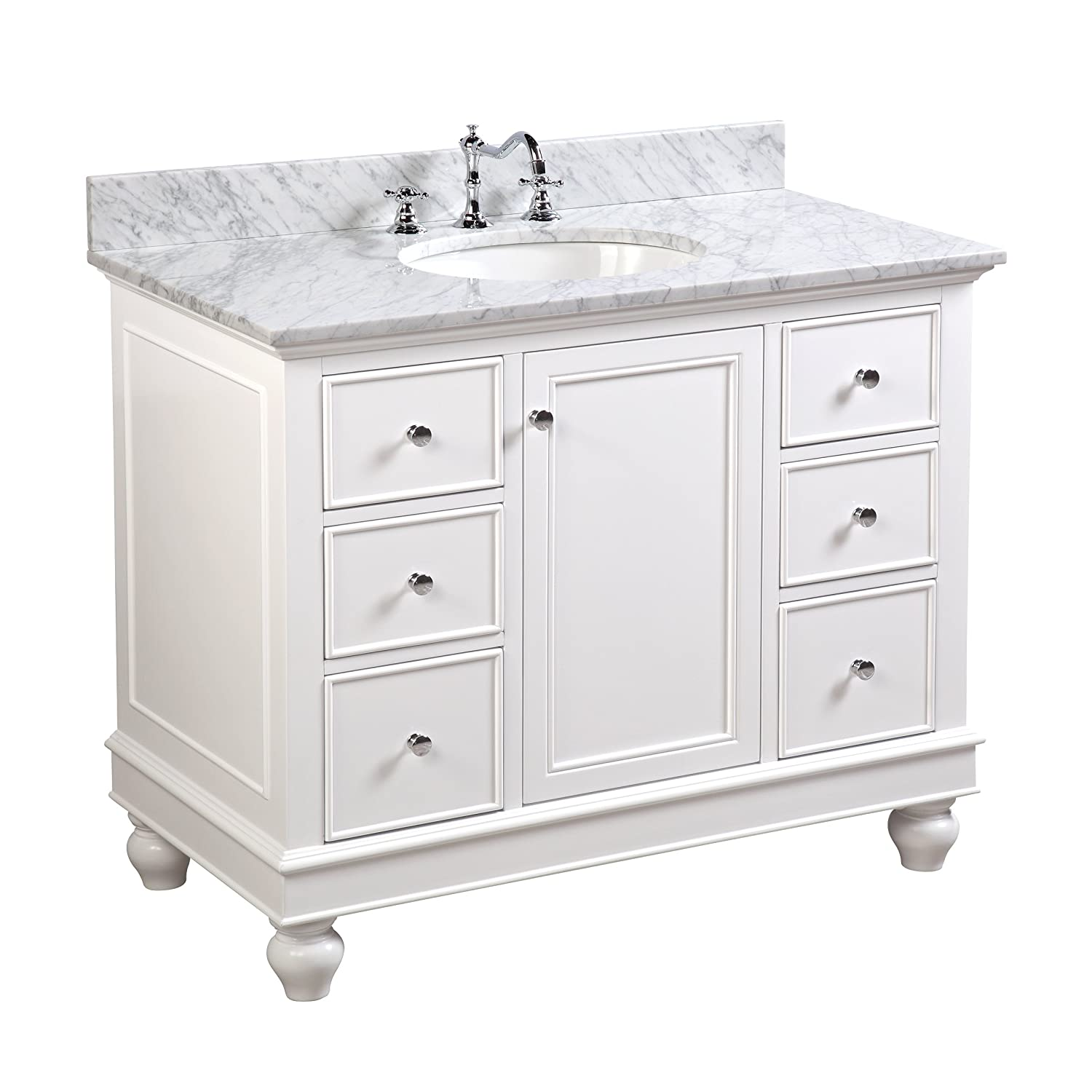 Bella 42-inch Bathroom Vanity Carrara White Includes a White Cabinet with Soft Close Drawers, Authentic Italian Carrara Marble Countertop, and White Ceramic Sink