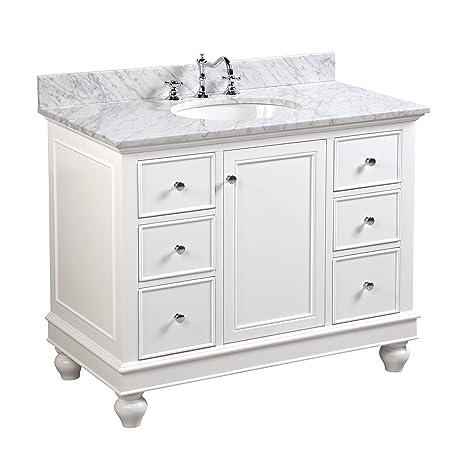 Bella 42 Inch Bathroom Vanity Carrarawhite Includes A White