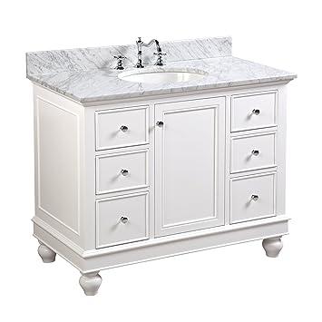 Charming Bella 42 Inch Bathroom Vanity (Carrara/White): Includes A White Cabinet  42 Inch Bathroom Vanity